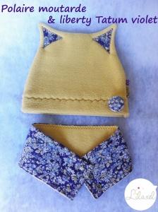 bonnet moutarde et liberty tatum violet par Lilaxel