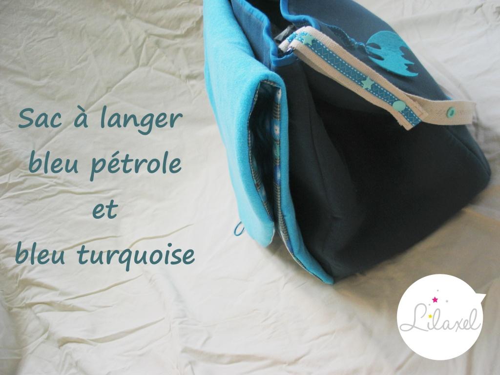 sac à langer bleu pétrole et turquoise par Lilaxel