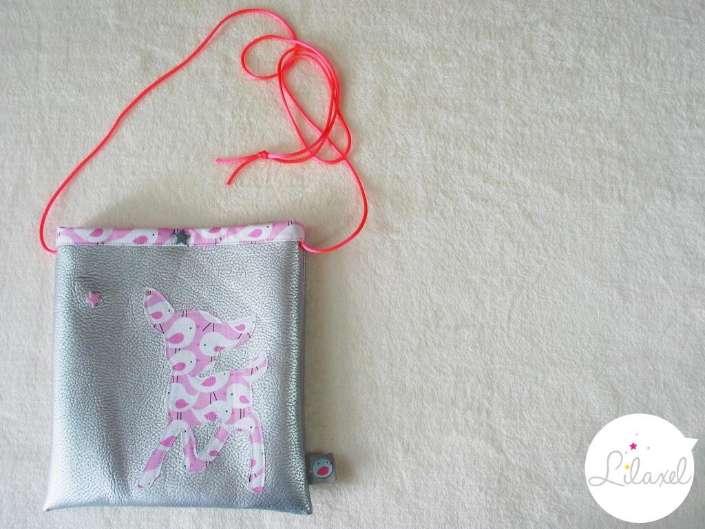pochette à secrets - skai argenté et oiseaux roses