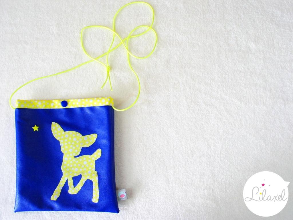 pochette à secrets - skai bleu roi et koko jaune