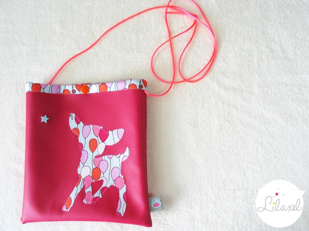 pochette à secrets - skai rose et coton ballons