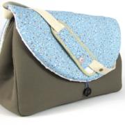 sac à langer taupe et fleurs bleu - 1