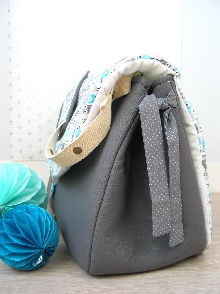 sac à langer lilaxel - base gris et chouettes - 3