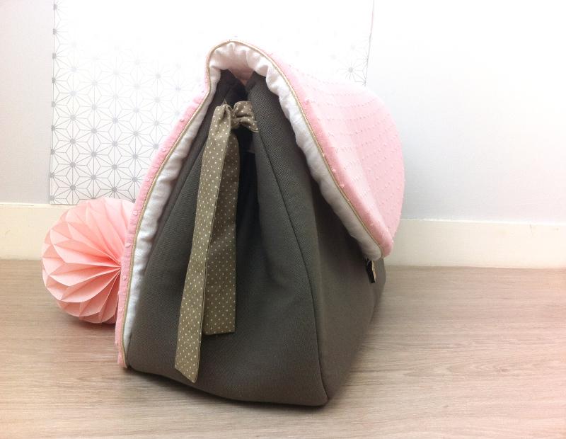 sac à langer taupe et plumetis - lilaxel - 10