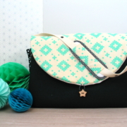 sac à langer lilaxel - noir et losanges turquoise - 2