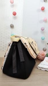 sac à langer lilaxel - base noire - jolis lapins rose - andre lauren - 04