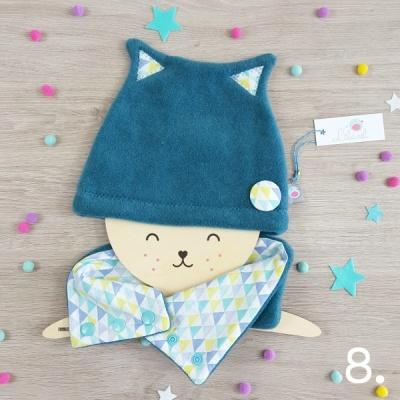 bonnet petit chat lilaxel bleu et triangles mint - www.lepetitmondedelilaxel.com