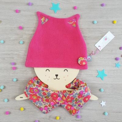 bonnet petit chat lilaxel rose et liberty betsy fluo the - www.lepetitmondedelilaxel.com