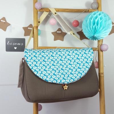 sac à langer lilaxel taupe et osami bleu petit pan