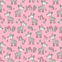 sweet-woodland-deer-and-mushrooms-pink-cajadesign