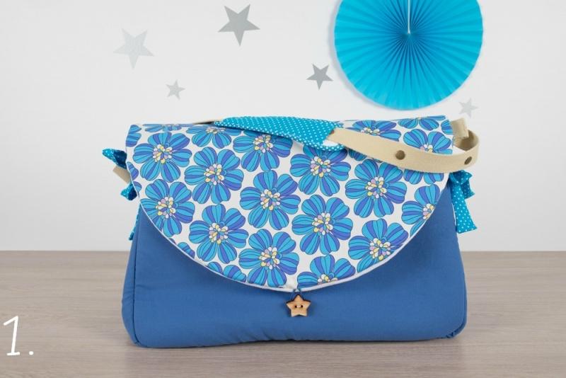 sac à langer - bleu et fleurs rétro - www.lepetitmondedelilaxel.com