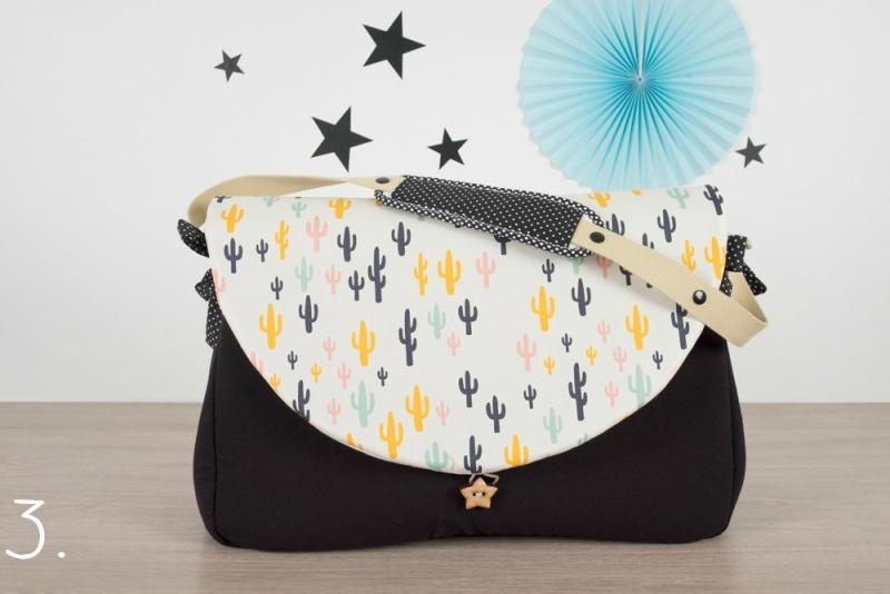 sac à langer - noir et cactus colorés - www.lepetitmondedelilaxel.com