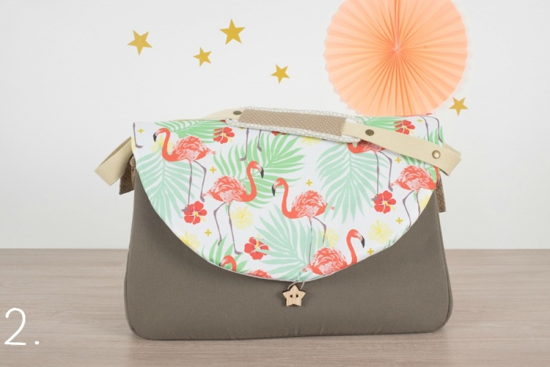 sac à langer - taupe et flamingo - www.lepetitmondedelilaxel.com