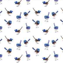 lifesize bleu wrens on white - thisleandfox