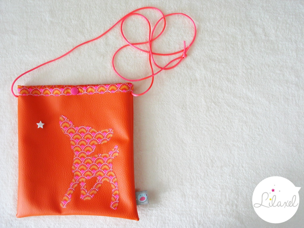 pochette à secrets - skai orange et wasabi rouge