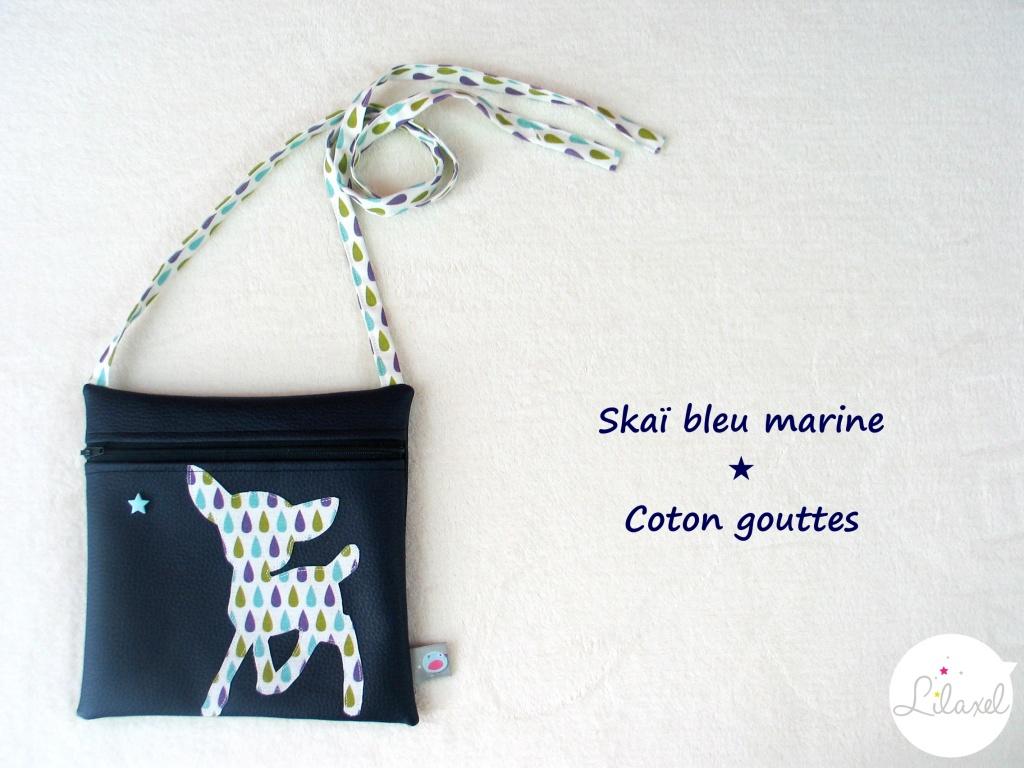 pochette skai marine et coton gouttes 2