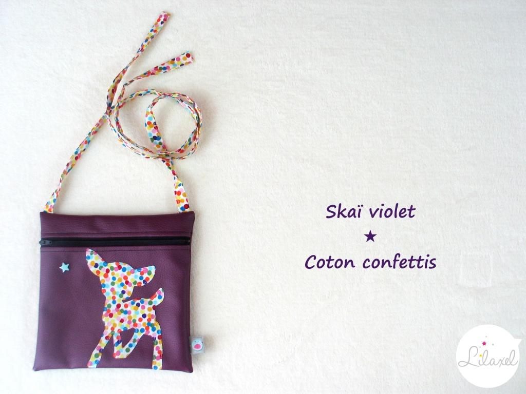 pochette skai violet et coton confettis