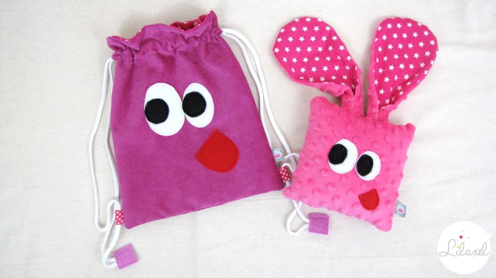 doudou et sac de crèche loustik rose