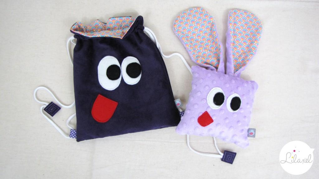 doudou et sac de crèche loustik violet