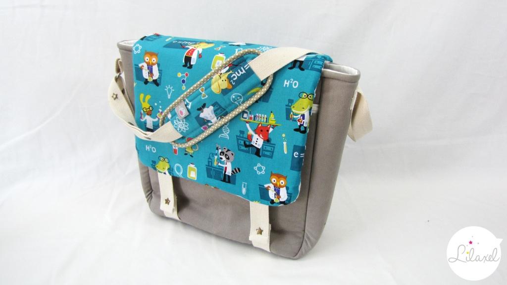petit sac à langer sable et chimiste turquoise lilaxel