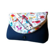 sac à langer bleu indigo et oiseaux - lilaxel