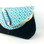 sac à langer bleu marine et osami turquoise