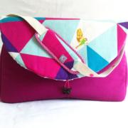 sac à langer lilaxel - base fuschia - echino oiseaux 1