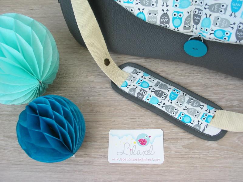 sac à langer lilaxel - base gris et chouettes - 4
