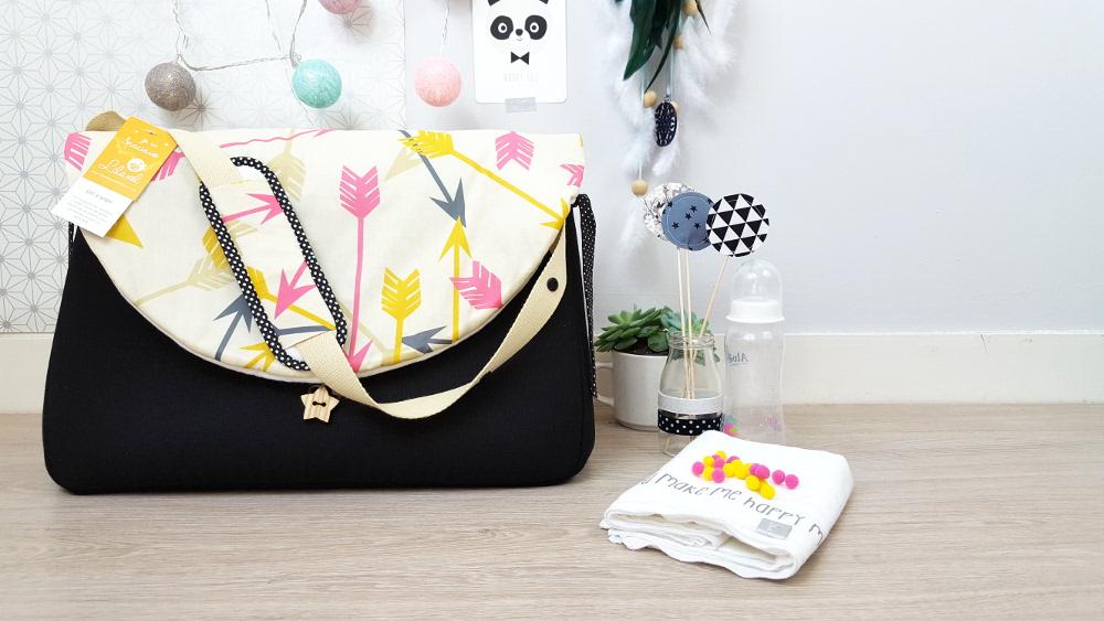 sac à langer lilaxel - noir et flèches
