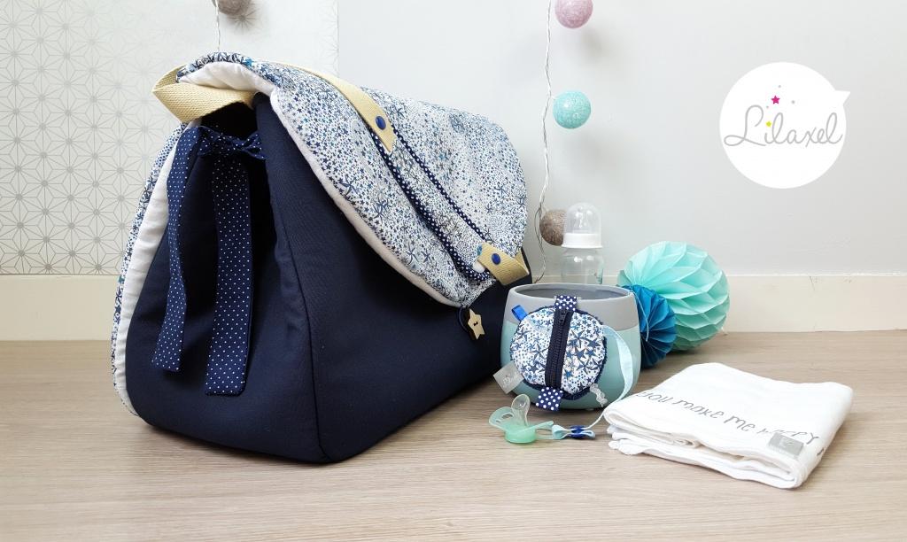 sac à langer et range-tétine - lilaxel - liberty adelajda bleu