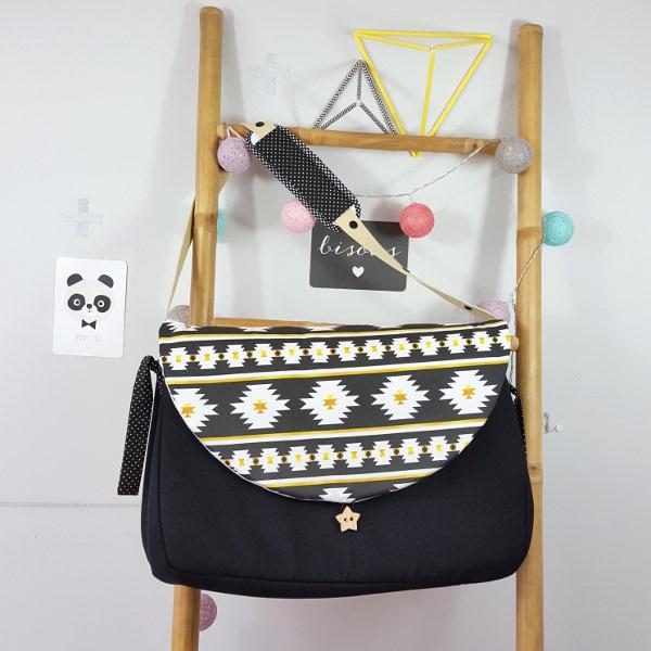 sac langer noir et ethnique chic noir et jaune en stock lilaxel. Black Bedroom Furniture Sets. Home Design Ideas