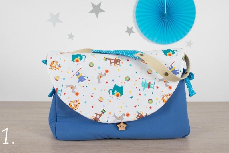 sac à langer - bleu et circus - www.lepetitmondedelilaxel.com