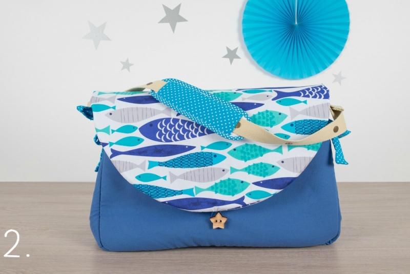 sac à langer - bleu et poissons - www.lepetitmondedelilaxel.com