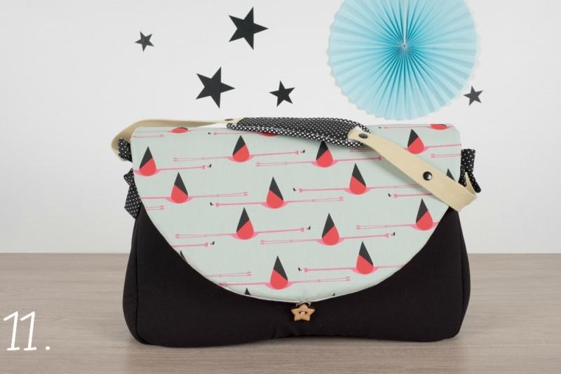 sac à langer - noir et flamingos - www.lepetitmondedelilaxel.com
