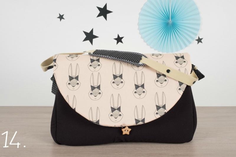 sac à langer - noir et lapins - www.lepetitmondedelilaxel.com