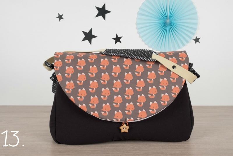 sac à langer - noir et renards - www.lepetitmondedelilaxel.com