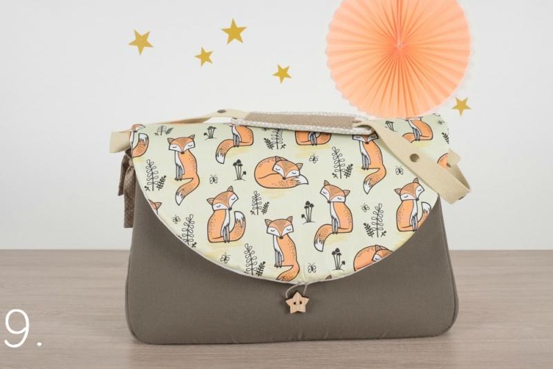 sac à langer - taupe et petits renards - www.lepetitmondedelilaxel.com
