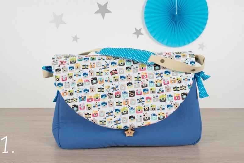 sac à langer - bleu et appareils photo - www.lepetitmondedelilaxel.com