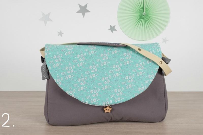 sac à langer - gris et capel turquoise - www.lepetitmondedelilaxel.com