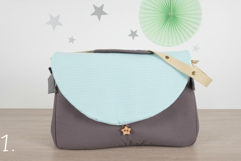 sac à langer - gris et chevrons mint - www.lepetitmondedelilaxel.com
