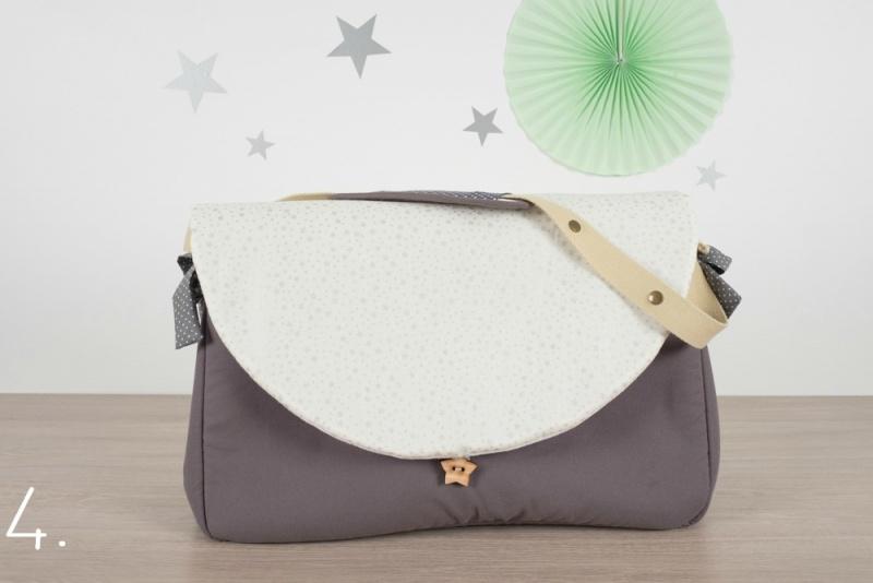 sac à langer - gris et petites étoiles argentées - www.lepetitmondedelilaxel.com