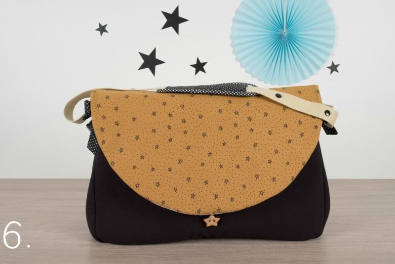 sac à langer - noir et étoiles moutarde - www.lepetitmondedelilaxel.com