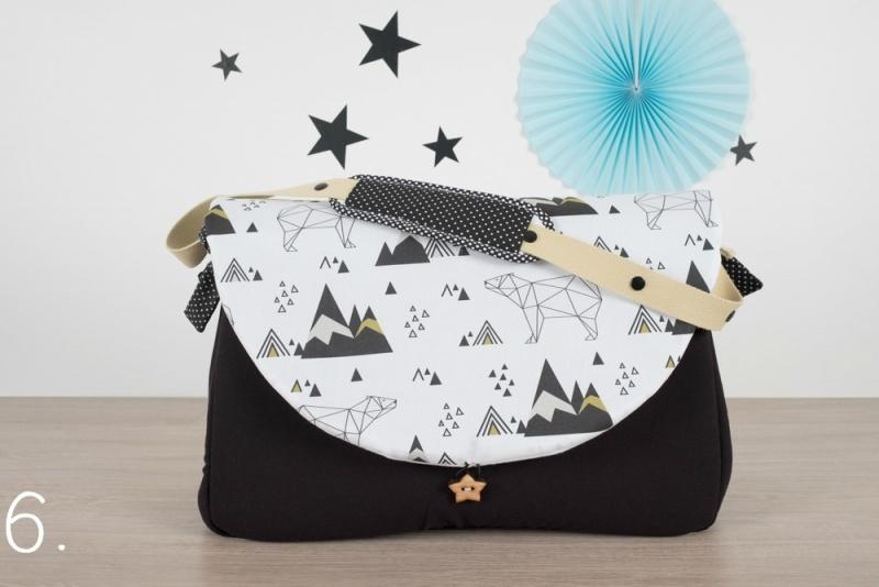 sac à langer - noir et ours origami - www.lepetitmondedelilaxel.com