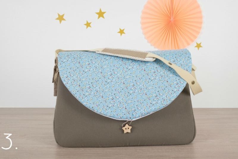 sac à langer - taupe et petites fleurs - www.lepetitmondedelilaxel.com