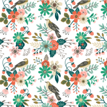 birds flowers and strawberries - mirabelleprint