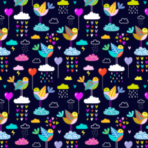 lovebirds navy - mirabelleprint