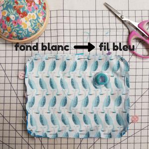 fond blanc fil bleu - tuto diy passepoil - lilaxel