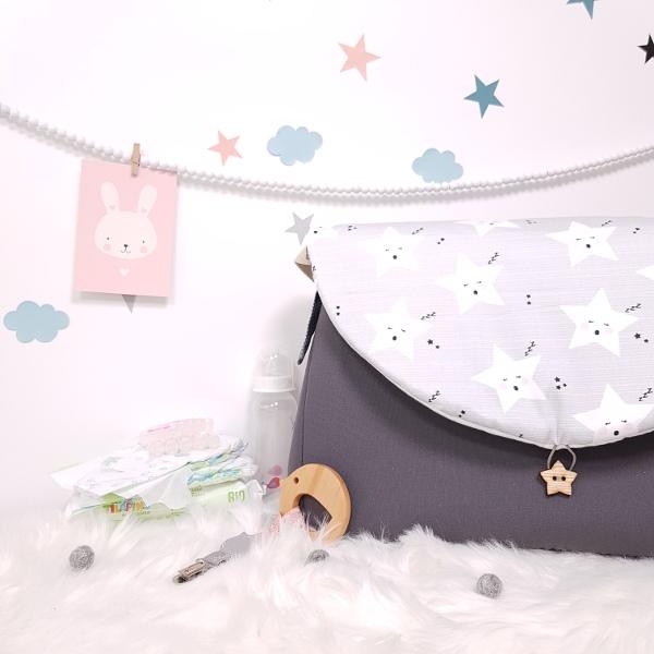 sac à langer lilaxel - gris et étoiles