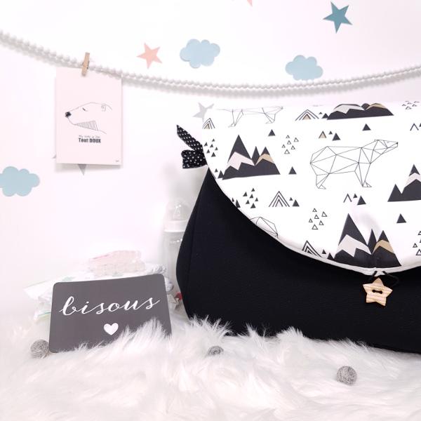 sac à langer lilaxel - noir et ours origami
