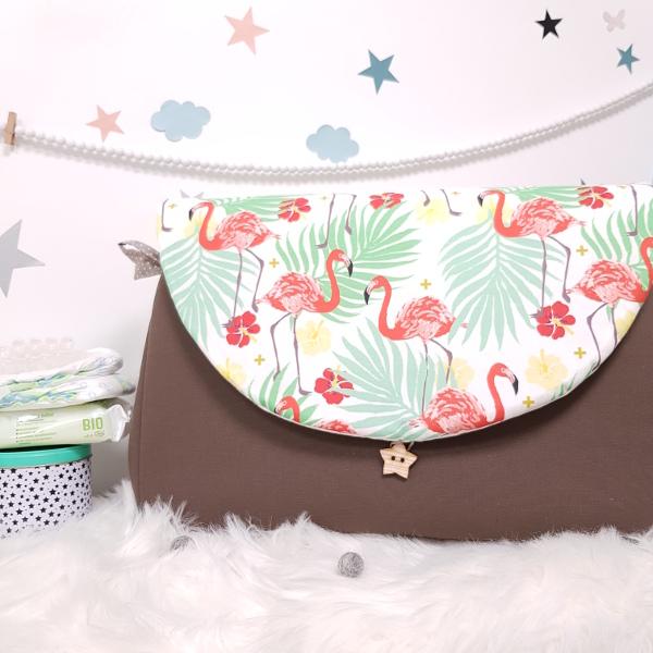 sac à langer lilaxel - taupe et flamingos